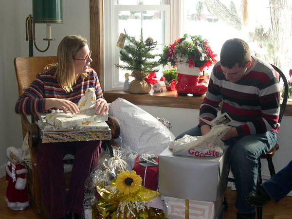Newlyweds unwrapping the stuff... at Sandy Carmichael's in Albany