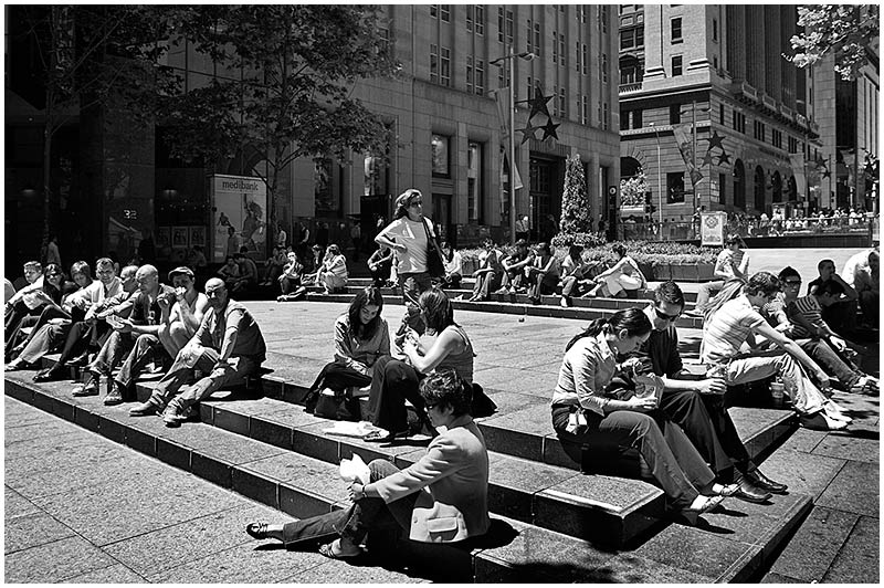 Martin Place, Monday December 5th 2005. <br /> <br /> Lunch break. <br /> <br /> EXIF DATA <br /> Canon 1D Mk II. EF 17-35 f/2.8L@21mm 1/125s f/6.3 ISO 200.