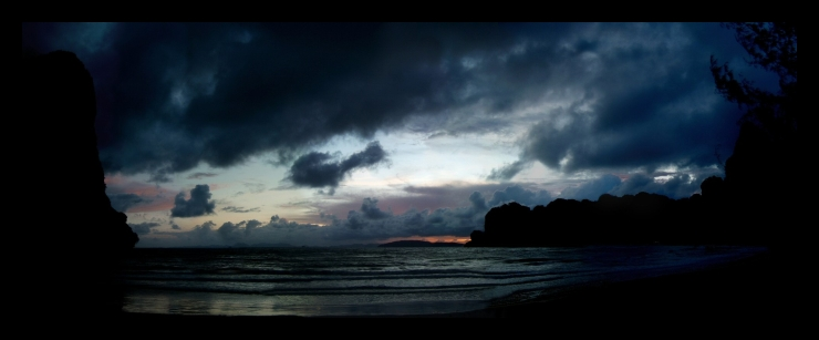A digitally stitched panorama of several images after sunset on West Railay Beach, Krabi, Thailand.