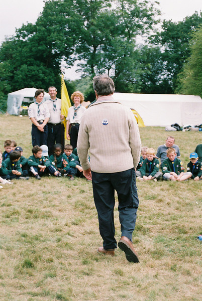 """One of our cubs managed to tag the Camp Leader Colin Woolcock with an """"I've met the Met"""" sticker."""