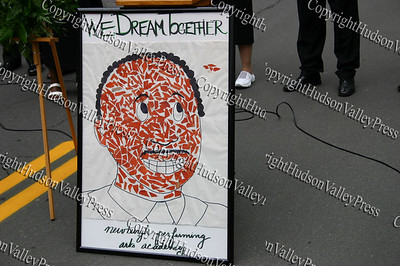 "Newburgh Performing Arts poster depicting Dr. King says ""We Dream Together"""