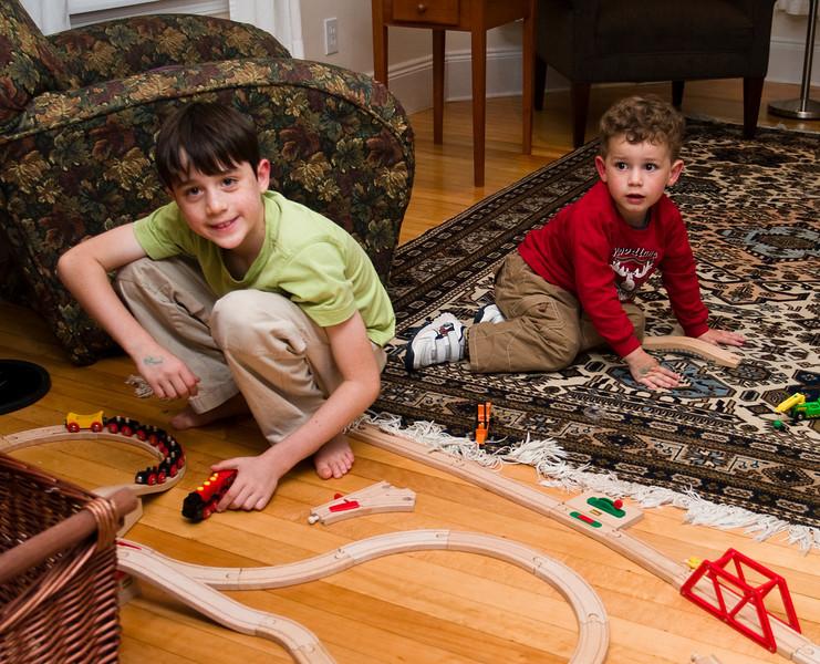 Benjamin and Joey playing trains