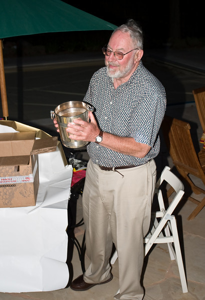 Grandpa Edmund admires his new (old) Champagne bucket