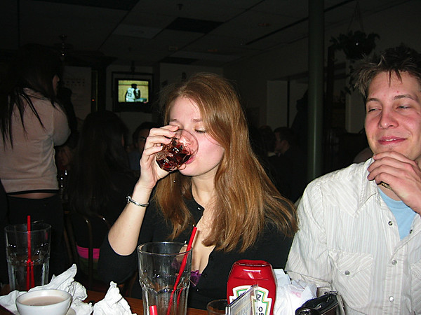 13 - Heather drinking as she should.JPG