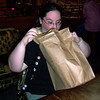 Joelle peeks in the bag