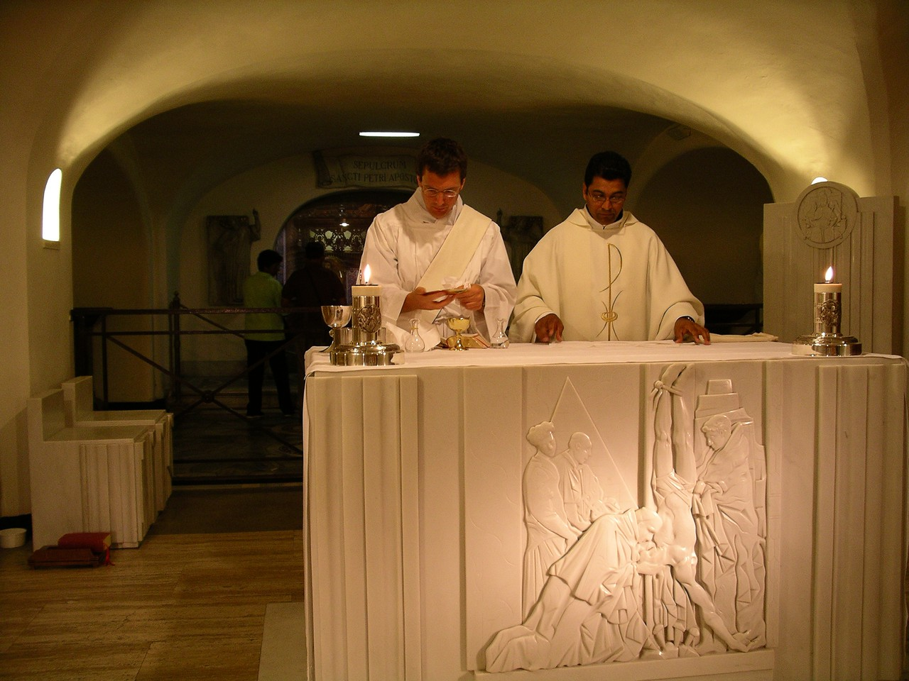 At the altar of the tomb of St Peter