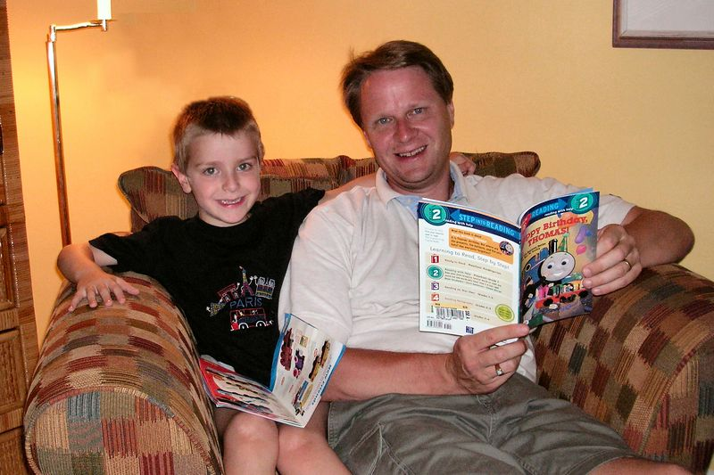 "Anthony and Scott with his newest ""Thomas"" book"