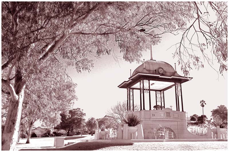 The Rotunda, Yeo Park, Ashfield, Wednesday, July 27th 2005. <br /> <br /> Built in 1929 and restored in 1988, this bandstand rotunda is now used mainly for wedding photographs and special functions. (infra-red image) <br /> <br /> EXIF DATA <br /> Canon 1D Mk II. EF 24-70 f/2.8L USM @28mm. 1/125s f/9. Shutter Priority. ISO 200.
