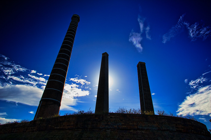 Old Brickworks, Sydney Park, St. Peters, Friday 08.45 June 10th 2005<br /> <br /> These chimneys from a disused brickworks drew me to them suggesting mystical Stone Age columns rising up from a sacred place of worship.