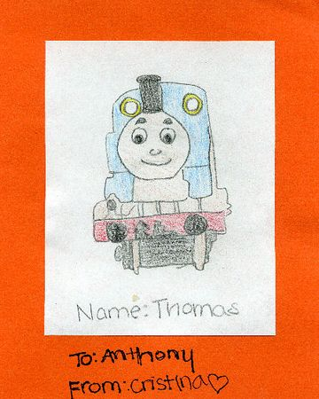 Cristina's drawing of Thomas for Anthony