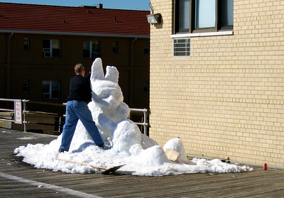 Snow Sculpting on the Boadwalk