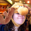 Stacey has a moose on her head