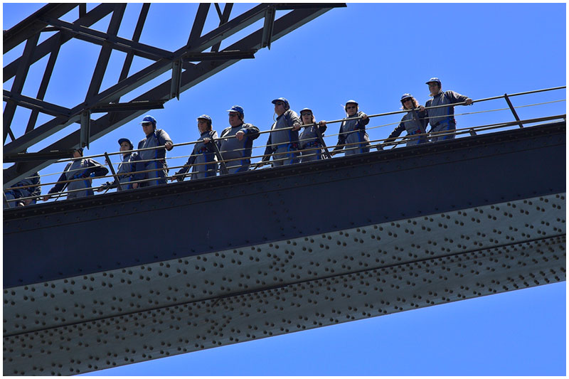 Sydney Harbour Bridge, Saturday November 26th 2005. <br /> <br /> Bridge Climbers.<br /> <br /> EXIF DATA <br /> Canon 1D Mk II. EF 70-200 f/2.8L@200mm 1/250s f/8 ISO 200.