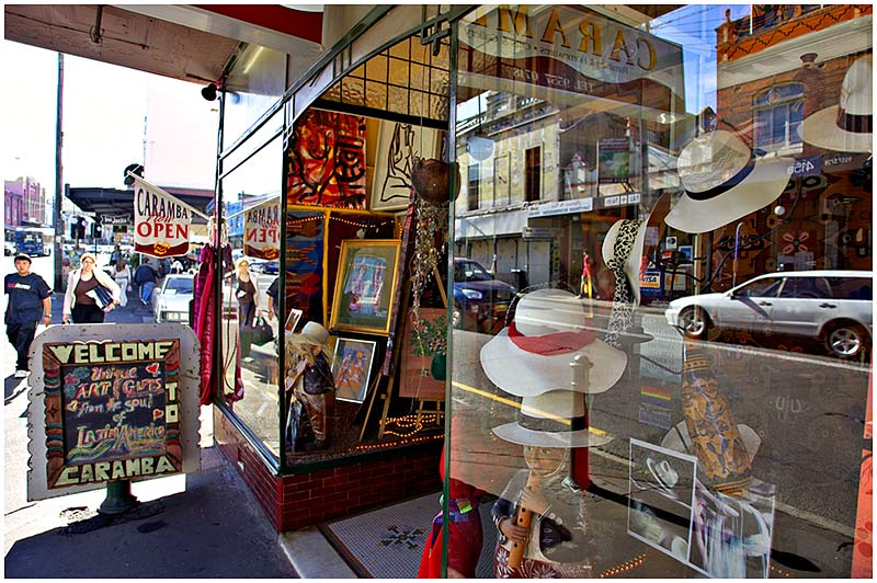 King Street, Newtown, Tuesday, November 1st 2005. <br /> <br /> Caramba is a South American art and gifts shop. <br /> <br /> EXIF DATA <br /> Canon 1D Mk II. EF 17-35 f/2.8L@17mm 1/80s f/2.8 ISO 160.