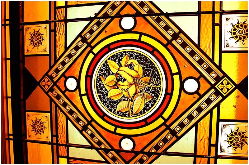 Strand Arcade, Pitt Street, Sunday November 20th 2005. <br /> <br /> Detail of stained glass window in this 19th century shopping arcade. <br /> <br /> EXIF DATA <br /> Canon 1D Mk II. EF 17-35 f/2.8L@35mm 1/40s f/2.8 ISO 500.