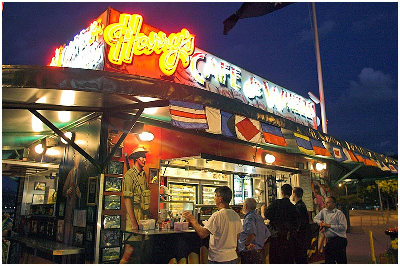 Cowper Road, Woolloomooloo, Friday November 11th 2005. <br /> <br /> Sydney's iconic pie stand, Harry's Cafe de Wheels. <br /> <br /> EXIF DATA <br /> Canon 1D Mk II. EF 17-35 f/2.8L@17mm 1/40s f/3.2 ISO 3200.