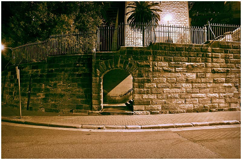 Hickson Road, The Rocks, Wednesday November 16th 2005. <br /> <br /> The base of one of the Harbour Bridge Pylon Towers. <br /> <br /> EXIF DATA <br /> Canon 1D Mk II. EF 17-35L f/2.8L@17mm 2.0s f/5 ISO 200.
