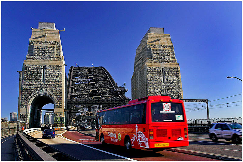 Sydney Harbour Bridge, Tuesday November 15th 2005. <br /> <br /> The city bound entrance to the harbour bridge. <br /> <br /> EXIF DATA <br /> Canon 1D Mk II. EF 17-35 f/2.8L@30mm 1/100s f/6.3 ISO 200.