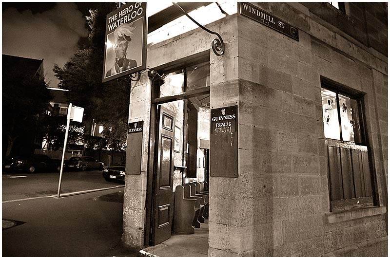 Windmill Street, Millers Point, Saturday, October 29th 2005. <br /> <br /> The Hero of Waterloo is one of Sydney's oldest pubs. It was built in 1843 with sandstone locally quarried and cut by convicts. <br /> <br /> EXIF DATA <br /> Canon 1D Mk II. EF 17-35 f/2.8L@17mm 1/6s f/2.8 ISO 3200.