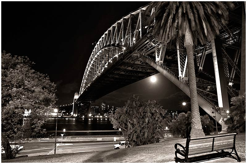 Sydney Harbour Bridge, Wednesday, October 19th 2005. <br /> <br /> EXIF DATA <br /> Canon 1D Mk II. EF 17-35 f/2.8L@17mm 6s f/8 ISO 200.