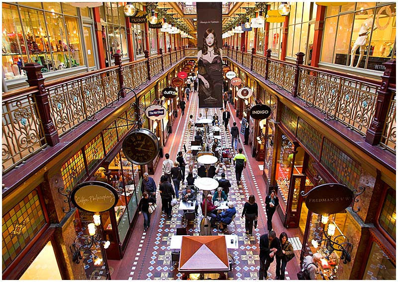 The Strand Arcade, Pitt Street, Sunday, October 30th 2005. <br /> <br /> Opened in 1892 this was the last of the great Victorian shopping arcades built in Sydney. <br /> <br /> EXIF DATA <br /> Canon 1D Mk II. EF 17-35 f/2.8L@17mm 1/40s f/2.8 ISO 500.