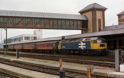 A series of high-profile failures had led to ATW abandoning the use of loco-haulage in North Wales earlier than anticipated. 47847 'Railway World magazine' waits to depart Holyhead with 1H52 1335 to Manchester Piccadilly on the last day of operations (19/