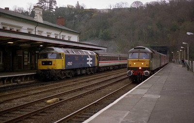 In an unrepeatable scene, 47815 (with '816 on the rear) arrives at Bangor with 1Z62 1600 Crewe-Holyhead, as 47847 brings up the rear of the departing 1Z64 (03/04/2005)