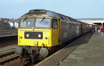 47847 'Railway World Magazine' is pictured at Rhyl with an additional 1Z47 1235 Cardiff-Holyhead conveying fans back from the previous day's Wales v Ireland Rugby International (20/03/2005)