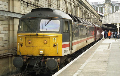 It's repairs completed, 47826 is pictured on arrival at Edinburgh Waverley with 1Z51 0648 charter from Leeds in connection with a protest marchh to coincide with the 'G8' summit meeting taking place at Gleneagles that weekend (02/07/2005)