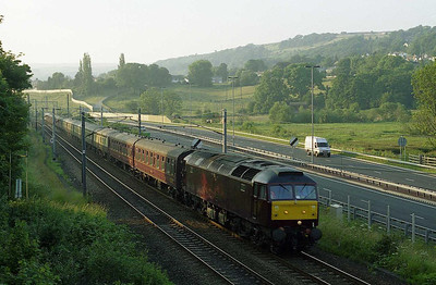 47854 passes the site of Bingley signal box with 5Z60 1656 Carnforth-Bridlington (08/07/2005)