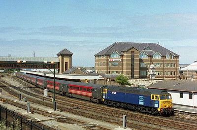 47501 had initially been hired for the weekend by Virgin to cover the Carnforth 'Thunderbird' duty, but the ongoing shortage of '57s' had seen it pressed into front line passenger service. The loco waits to depart from Holyhead for Crewe with 1A53 1607 to