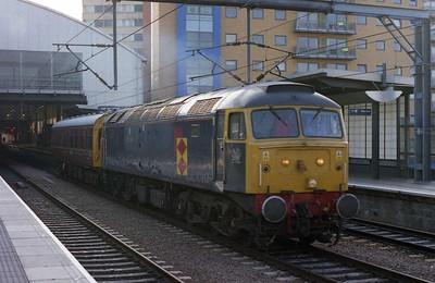 47145 'Myrddin Emrys' departs Leeds with 2Z01 0818 inspection saloon to Mexborough via Skipton, Sheffield, Milford Sidings and Goole (17/08/2005)