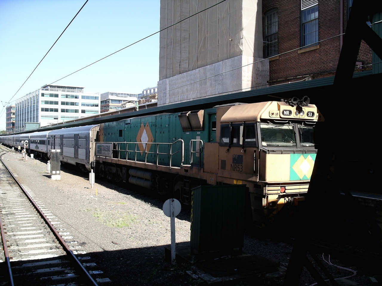 Our train stands at Sydney Central station after arrival • The Indian Pacific train, which carried us from Perth to Sydney, pulled in at Central on the third day after we had left Perth.