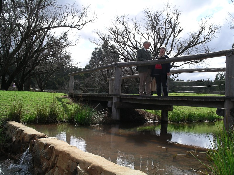 Crossing the stream at the Millbrook Winery
