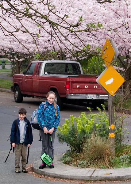 Benjamin and Isabel at their school bus stop.