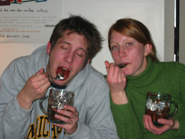 07 - Brian and Laura are in heaven with the mousse.JPG