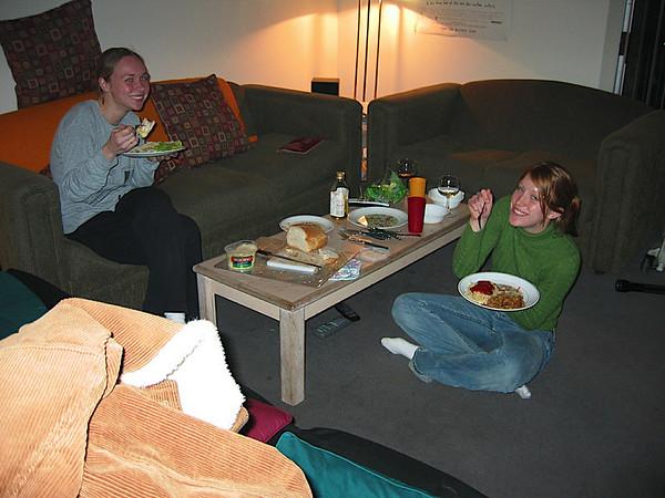 06 - Julie and Laura enjoying my wonderful cooking skills.JPG