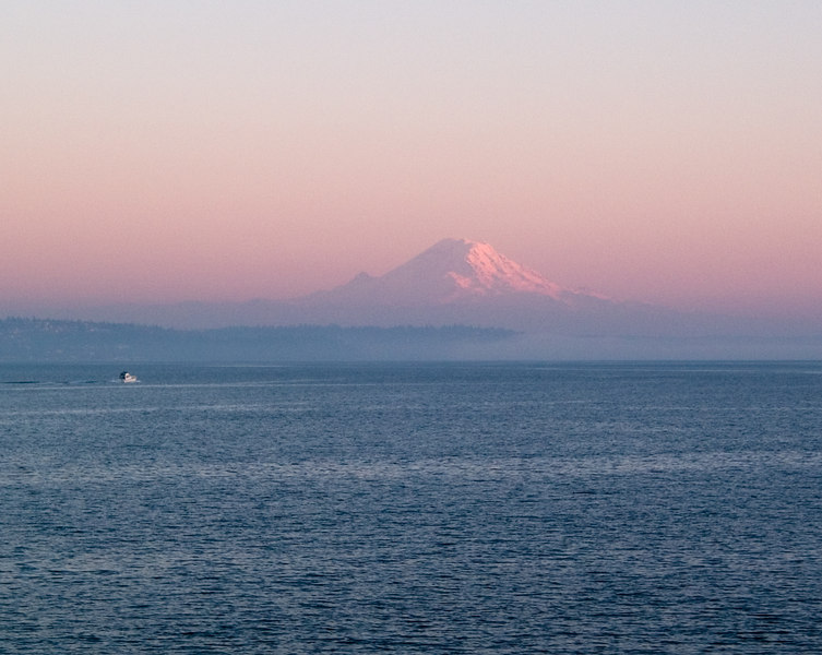 Mt. Rainier looming over Puget Sound.