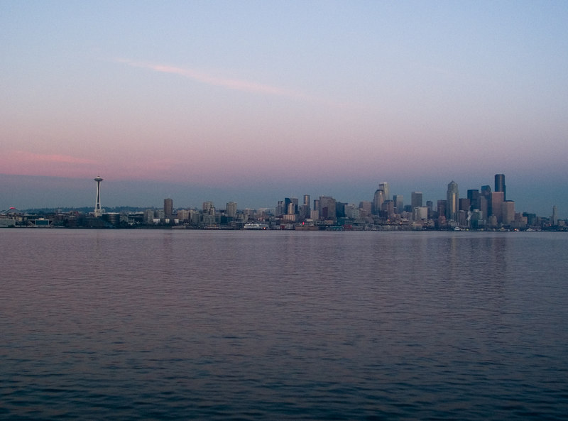 Seattle skyline at dusk.