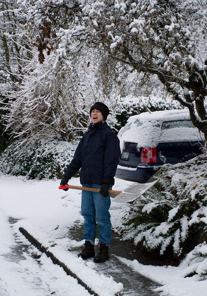 Chantal enjoying snow shoveling.
