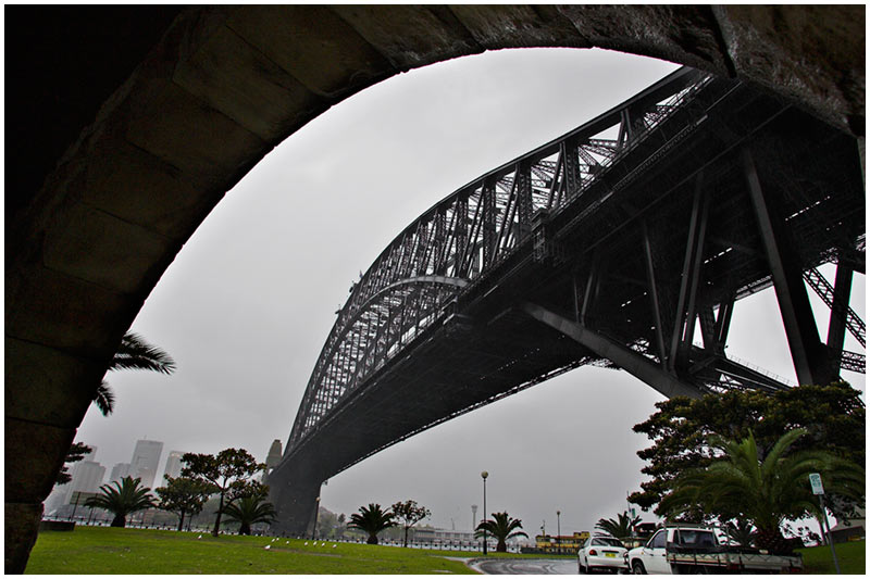 Sydney Harbour Bridge, Kirribilli, Tuesday September 27th 2005. <br /> <br /> In a city that has only had 2 days of rain in two months this is welcome stuff. <br /> <br /> EXIF DATA <br /> Canon 1D Mk II. EF 17-35 f/2.8L@17mm 1/60s f/10 ISO 400.
