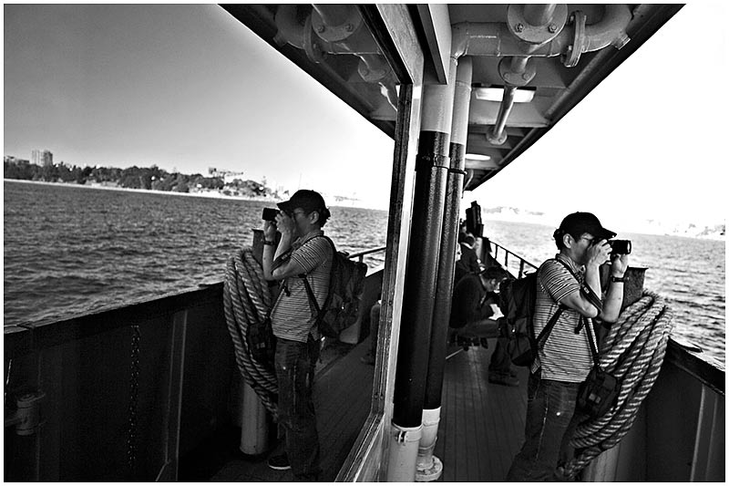 Sydney Harbour, Thursday September 29th 2005. <br /> <br /> On board the Manly ferry.  <br /> <br /> EXIF DATA <br /> Canon 1D Mk II. EF 17-35 f/2.8L@17mm 1/125s f/2.8 ISO 200.
