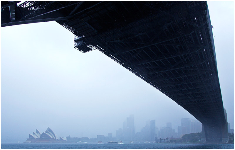 Sydney Harbour Bridge, Sunday September 4th 2005. <br /> <br /> Rain finally comes to Sydney for the first time in almost two months. <br /> <br /> EXIF DATA <br /> Canon 1D Mk II. EF 17-35 f/2.8L@21mm 1/50s f/10 Shutter Priority ISO 400.