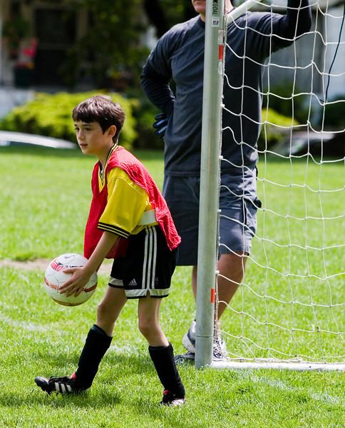 Benjamin in the goal (never his favorite position).