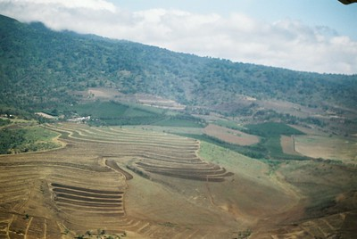 Newly terraced hillsides, to extend Arusha's coffee farming. Aerial photo en route to Serengeti   --Stuart Altmann