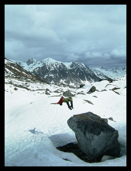 Kelsey Gray feeds on freedom as he defies gravity, leaping out of the shadow of Pinnacle Peak in Archangel Valley.