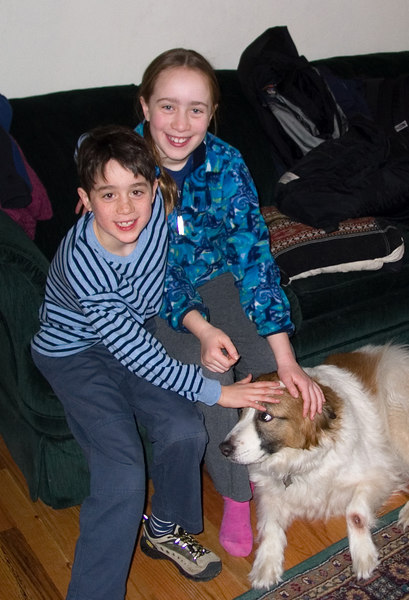 Isabel and Benjamin with Aunt Marian's dog Sadie.