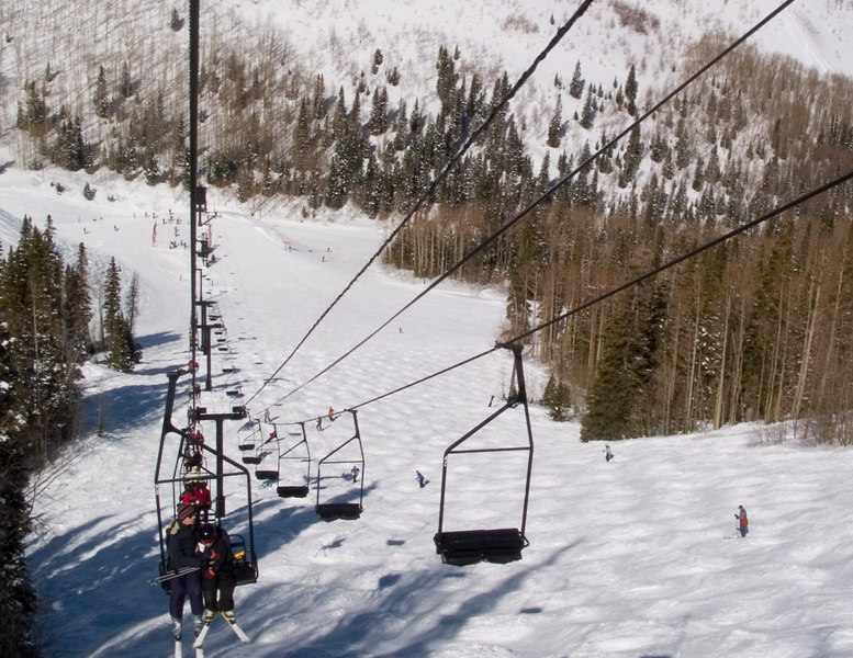 Chantal and Benjamin going up the chairlift.