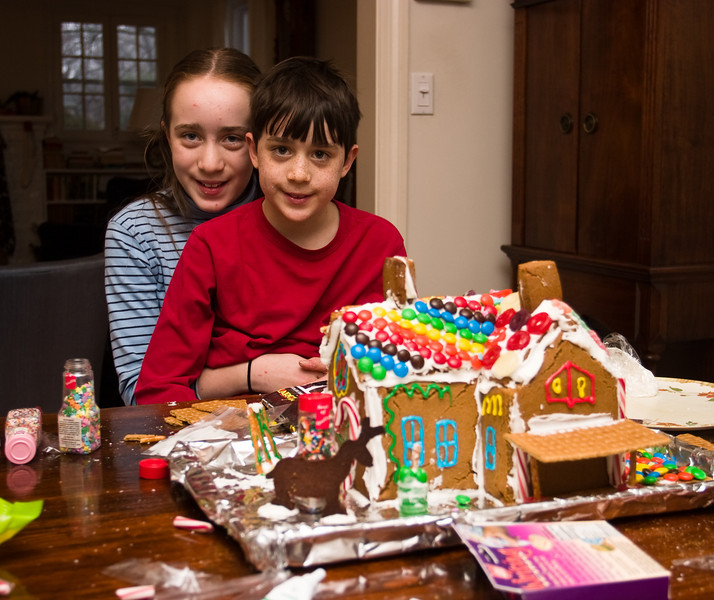 The kids with the fully-decorated house
