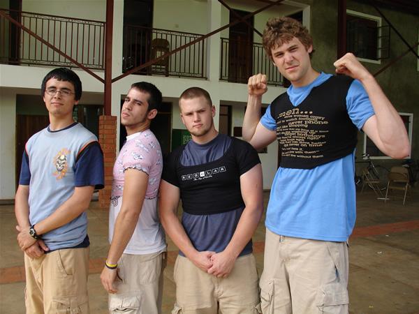 Guys wearing funny shirts